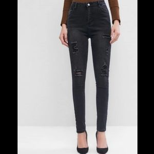 ZAFUL High Waister Destroyed Tapered Jeans